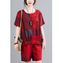 Vintage Ladies Checkered Printed Short Sleeve Round Neck Loose T Shirt & Relaxed Shorts Set