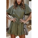 Womens Rompers Fashionable Plain Ruffle Hem Drawstring Waist Round Neck Loose Fitted Short Sleeve Rompers