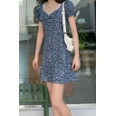 Stylish Ladies Ditsy Flower Printed Puff Sleeve Sweetheart Neck Lace Trim Mini A-line Dress in Blue