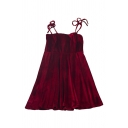 Pretty Girls Solid Color Velvet Bow Tied Shoulder Short A-line Pleated Cami Dress