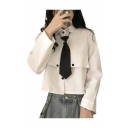 Simple Womens Solid Color Flap Pockets Long Sleeve Spread Collar Button Up Relaxed Crop Shirt Top with Tie