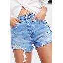 Womens Blue Shorts Stylish Pearl Rivet Rhinestone Decoration Distressed Frayed Cuffs High Rise Regular Fitted Zipper Fly Denim Shorts