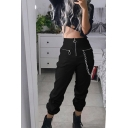 Fashion Cargo Pants Solid Color Zipper High Rise Full Length Pockets Elastic Cuff Black Chain Relaxed Fit Cargo Pants for Women