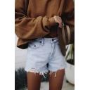 Stylish Womens Shorts Acid Wash Pockets High-rise Zip Placket Straight Fit Black Frayed Hem Short Denim Shorts