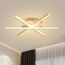 Slender Bar Acrylic Flush Mount Light Modernism LED White Ceiling Fixture for Living Room