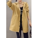 Popular Womens Letter Dog Graphic Long Sleeve Hooded Button Up Long Loose Coat