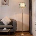 Barrel Living Room Stand Light Modern Fabric Single Beige/Light Purple/Royal Blue Floor Lamp with Crystal Accent