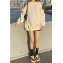Basic Womens Solid Color Blouson Sleeve Cold Shoulder Bow Tied Tunic Oversize Pullover Sweatshirt