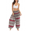 Women's Fancy Trousers Tribal Symbol Floral Plant Stripe Pattern Gathered Cuff Full Length Elastic Waist High Rise Loose Fit Yoga Trousers