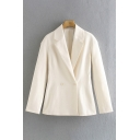 Ladies Stylish Solid Color Long Sleeve Lapel Neck Double Breasted Loose Fit Blazer Top in White