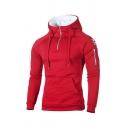 Stylish Men's Sweatshirt Applique British Flag Pattern Kangaroo Pocket Long Sleeves Zipper Drawstring Lined Hood Slim Sweatshirt
