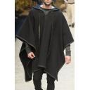 Mens Cape Coat Stylish Contrast Trim Woolen Cloth Asymmetric Hem Loose Fitted Half Batwing Sleeve Hooded Cape Coat