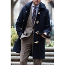 Novelty Mens Trench Coat Solid Color Woven Toggle-Button Turn down Collar Long Sleeve Slim Fit Trench Coat