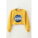 Fashion Planet Letter Nasa Graphic Printed Crew Neck Long Sleeve Relaxed Fit Pullover Sweatshirt