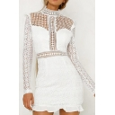 Pretty White Hollow Lace Ruffled Trim Zip Back Long Sleeve High Neck Mini Sheath Dress for Ladies