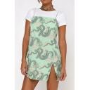 Retro Allover Dragon Pattern Spaghetti Straps Slit Side Short Sheath Cami Dress for Girls
