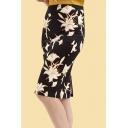 Womens Fashion Skirt Wave Lines Leaf Floral Dots Striped 3D Printed Slit-back Zip Fly Knee-length Bodycon Skirt