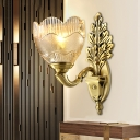 Gold 1 Light Wall Lighting Fixture Traditional Clear Textured Glass Bowl Wall Sconce with Scrolled Arm