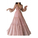 Amazing Womens Glitter Sheer Blouson Sleeve Deep V-neck Ruffled Maxi Pleated Swing Dress in Gold