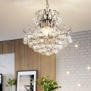Conic Crystal Ball Suspension Lamp Simple 4 Lights Chrome Ceiling Chandelier with Curvy Arm