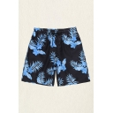 Mens Shorts Fashionable Flower Banana Leaf Printed Regular Fitted Drawstring Waist Relaxed Shorts