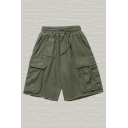 Mens Shorts Trendy Plain Raw Edge Flap Pockets Knee-Length Drawstring Waist Regular Fitted Cargo Shorts