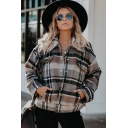 Fashion Gray Plaid Printed Long Sleeve Turn Down Collar Button Up Flap Pockets Relaxed Wool Jacket