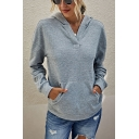 Leisure Solid Color Long Sleeve Pouch Pocket Loose Fit Hoodie for Girls