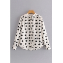 Chic White Horse Polka Dot Printed Long Sleeve Button Up Curved Hem Relaxed Blouse Top for Ladies