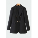 Formal Womens Black Long Sleeve Notched Collar Double Breasted Relaxed Fit Blazer
