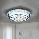 Squared Flush Mount Lighting Simplicity Crystal Block LED Chrome Close to Ceiling Light with Floral Pattern