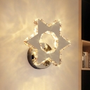 Modernism Star/Flower Wall Light Clear Crystal Dining Room LED Wall Mount Lamp in Chrome, Warm/White Light