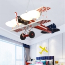 American Vintage 4+2 Bulb LED Glass Shade Airplane Flush Mount Pendant Light for Kids Boy Bedroom Room