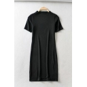 Womens Chic Plain Short Sleeve Mini Fitted T-Shirt Dress