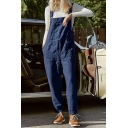 Classic Womens Overalls Plain Cotton Linen Square-Neck Drawstring Waist Regular Fitted Sleeveless Overalls