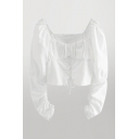 Chic Girls Solid Color Lace Up Tie Pleated Long Puff Sleeve Square Neck Slim Fit Cropped Blouse Top in White