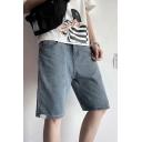 Stylish Mens Blue High Waist Knee Length Straight Denim Shorts