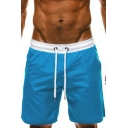 Casual Mens Patchwork Drawstring Waist Low Rise Knee Length Straight Fit Lounge Shorts
