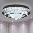 Tiered Beveled Crystal Flush Mount Contemporary Chrome Finish LED Ceiling Light for Living Room