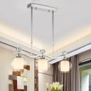 Wavy Metal Island Light Fixture Modern 3 Bulbs Chrome Pendant Lamp with Goblet Clear Glass Shade