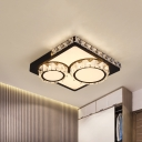 Modernist Round/Square Flush Mount Lighting Faceted Crystal LED Bedroom Ceiling Light Fixture in Black