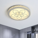 Acrylic Flower Semi Flush Light Modern Style LED Round Ceiling Lamp in Chrome with Crystal Deco