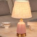 Pink Jar Nightstand Lighting Nordic Style 1 Head Ceramic Night Light with Barrel Fabric Shade