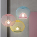 Macaron 1 Head Hanging Pendant Light Pink/Yellow/Blue Dual Globe Ceiling Lamp with Metallic Mesh Shade for Dining Room
