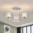 Modern 3 Heads Semi Flush Light Chrome Branching Ceiling Mount Chandelier with Square Crystal Shade