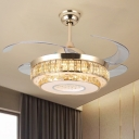 Layered Beveled Crystal Fan Lamp Modernity 19
