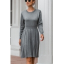 Womens Popular Solid Color Long Sleeve Crew Neck Knitted Midi A-line Pleated Sweater Dress