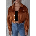 Cool Girls Solid Color Long Sleeve Spread Collar Press Button Flap Pockets Relaxed Crop Jacket in Brown