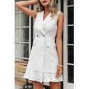 Formal Womens Solid Color Sleeveless Notched Collar Double Breasted Ruffled Short A-line Blazer Dress in White