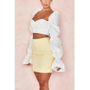 Long Sleeved Puff-Shoulder Sweetheart Neck Ruched Front Button Down Bustier Blouse Crop Top for Party